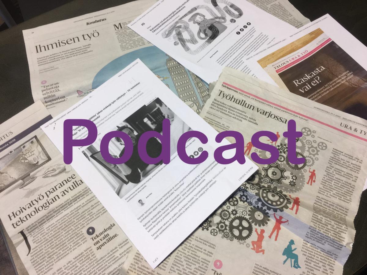 Lehtiä ja teksti Podcast